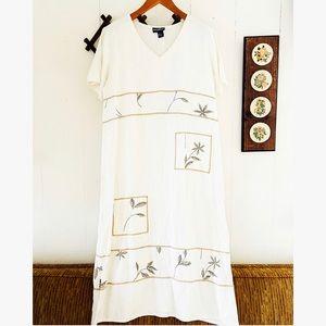 Vtg Botanical Linen Boxy Maxi Dress